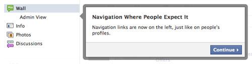 Facebook : Nouvelle page - Navigation