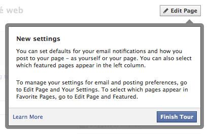 Facebook : Nouvelle page - Paramètres de configuration