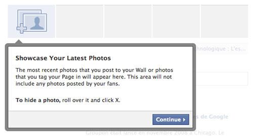 Facebook : Nouvelle page - Photos