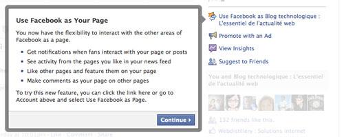 Facebook : Nouvelle page - Vue administrateur