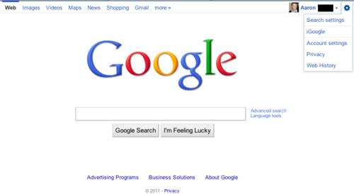 Google : Barre de navigation - Configuration