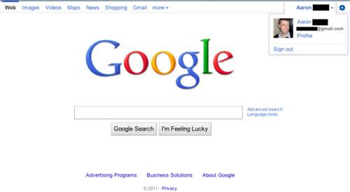 Google : Barre de navigation - Profil