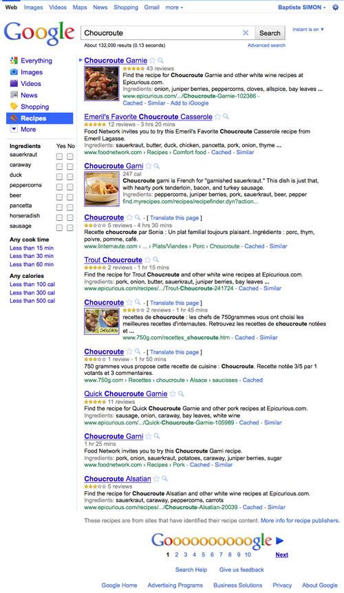 Google Recettes : Choucroute