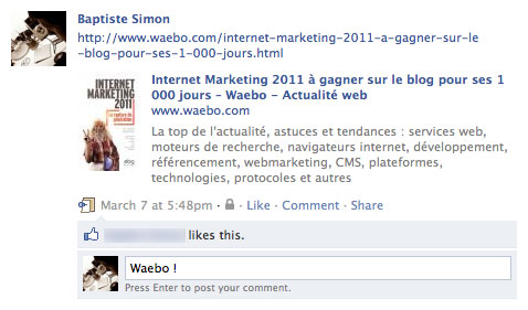 Facebook : Bouton de commentaire