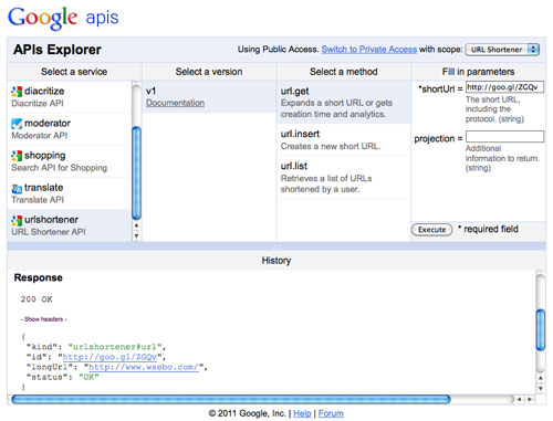 Google APIs Explorer