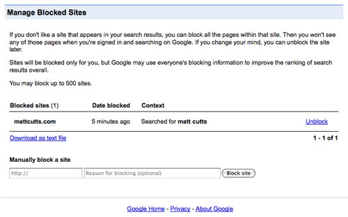 Google : Gestion des sites bloqués