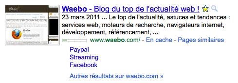 Résultat Google : Etoile (favoris) & loupe