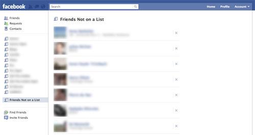 Facebook : Amis non présents dans une liste