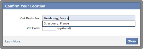 Facebook Deals : Localisation