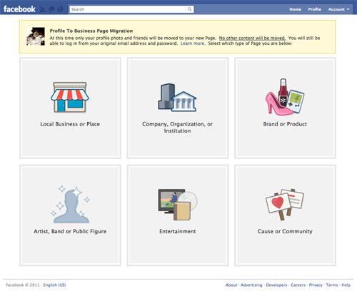 Facebook : Migration d'un profil à une page