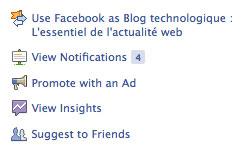 Facebook : Notifications de Pages