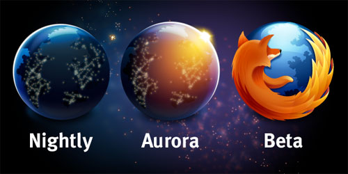 Logos Firefox : Nighly, Aurora & beta