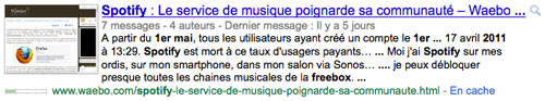 Google : Commentaires de blog