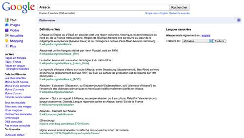 Google : Dictionnaire