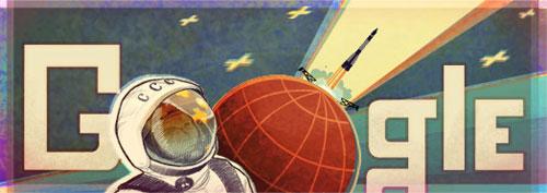 Google : Doodle du 50ème anniversaire du premier homme dans l'espace (Youri Gagarine)