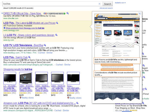 Google Instant Previews sur les annonces AdWords