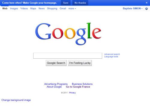 Google en page d'accueil du navigateur