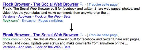 Google : Snippet - URL et liens