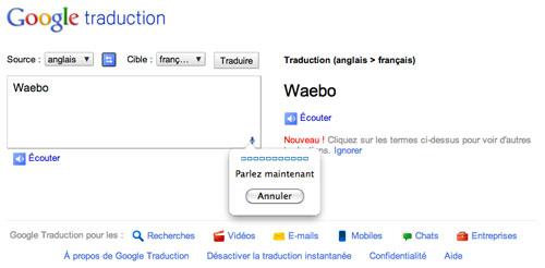Google Translate : Reconnaissance vocale