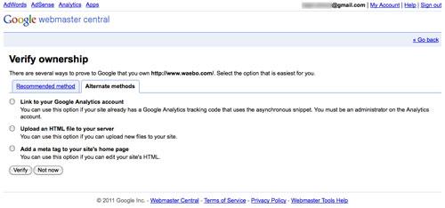 Google Webmaster Tools : Vérification de site - Autres méthodes
