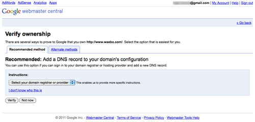 Google Webmaster Tools : Vérification de site - Méthode recommandée
