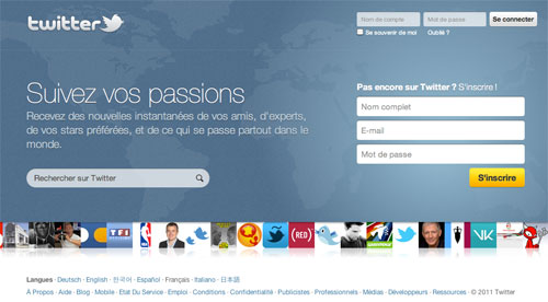 Twitter : Page d'accueil