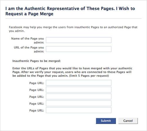 Facebook : Fusion de pages