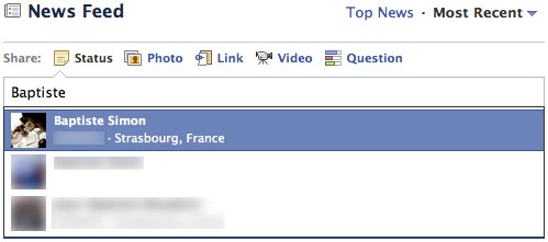 Facebook : Mention de contact
