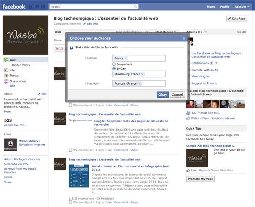 Page Facebook : Cibler un statut