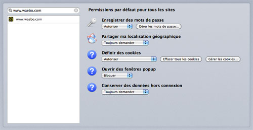 Firefox 6 : Gestion des permissions