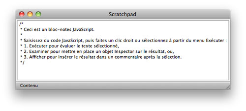 Firefox 6 : Scratchpad (bloc-notes JavaScript)