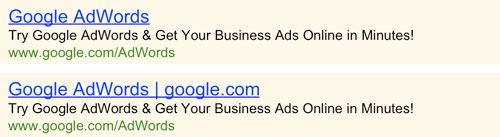 Google Adwords : Nom de domaine en titre d'annonce