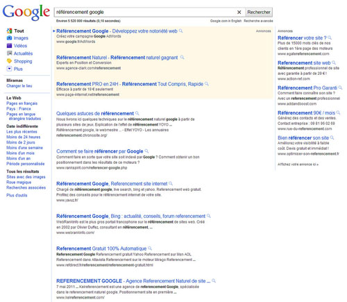 Google France : Page de résultats
