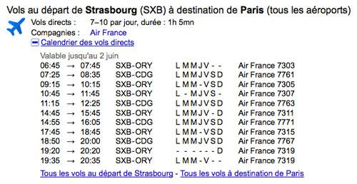Google : OneBox des horaires de vols (avions)