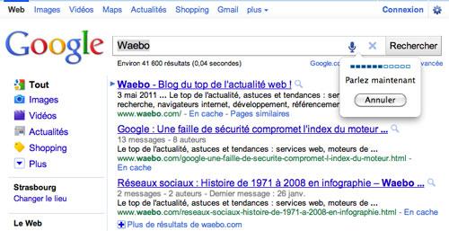 Google : Reconnaissance vocale