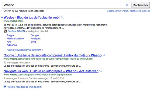 Snippet Google : URL entre titre et description