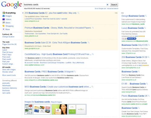 Google UK : Page de résultats
