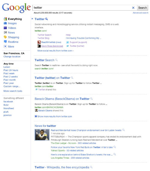 Google US : Page de résultats