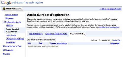 Google Webmaster Tools : Suppression d'URL