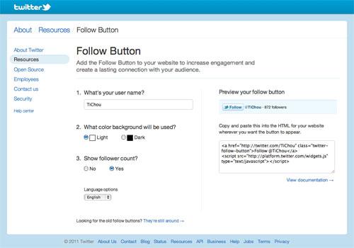 Twitter : Générateur du bouton follow