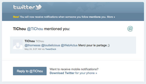 Twitter : Notification lors de mention