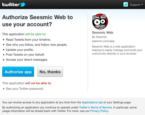 Twitter : Processus de permission