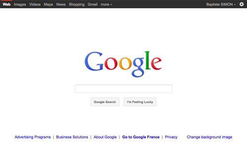Google : Boutons et barre de navigation noire