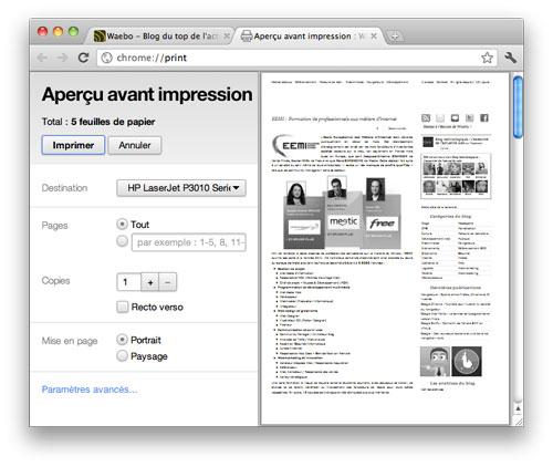 Google Chrome : Aperçu avant impression