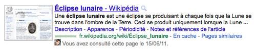 Google : Visite de site web
