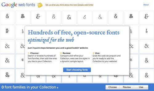 Google Web Fonts : Accueil