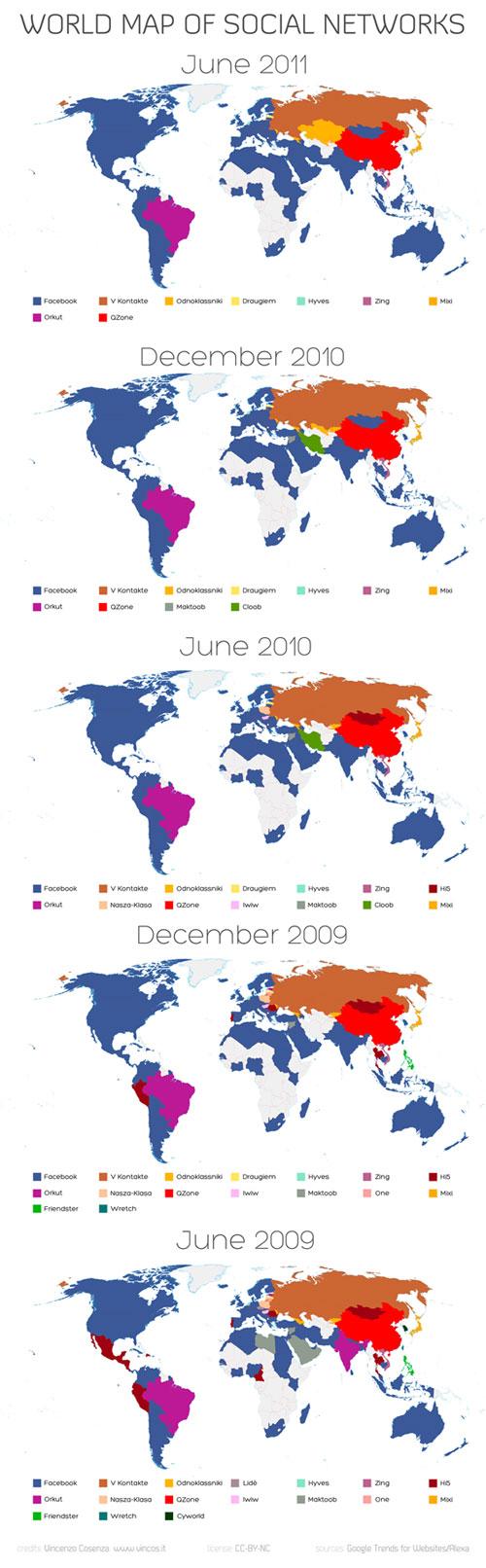 Réseaux sociaux de 2009 à 2011