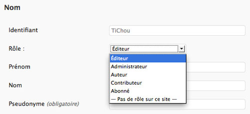 WordPress : Types de compte
