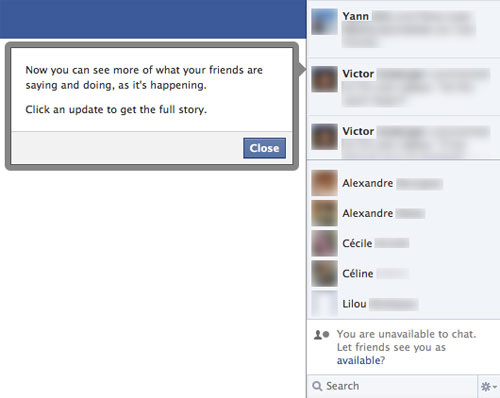 Facebook : Activités de ses amis en temps réel
