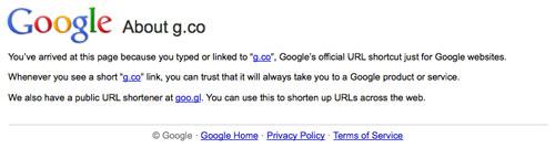 G.co : Raccourcisseur d'urls de produits et services officiels Google